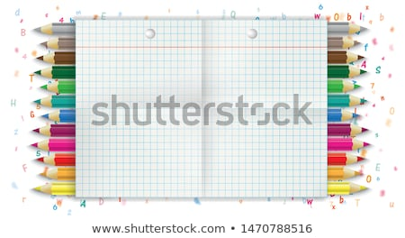 Back To School Checked Folded Letters Pencils Stock photo © limbi007