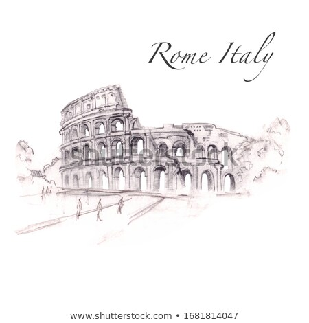 Roman Colosseum Theater Travel Sticker Isolated Stock photo © robuart