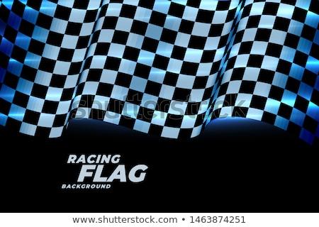 Versenyzés kockás zászló kék neon fények Stock fotó © SArts