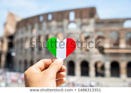 человек сердце итальянский флаг Колизей Сток-фото © AndreyPopov