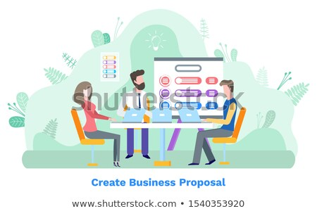 Create Business Proposal, Worker and Laptop Vector Stock photo © robuart