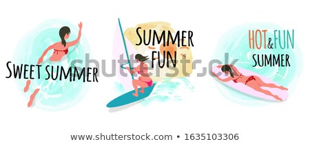 Sweet Summer Windsurfing and Swimming Woman Stock photo © robuart