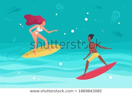 Mulher windsurf ondas verão diversão vetor Foto stock © robuart