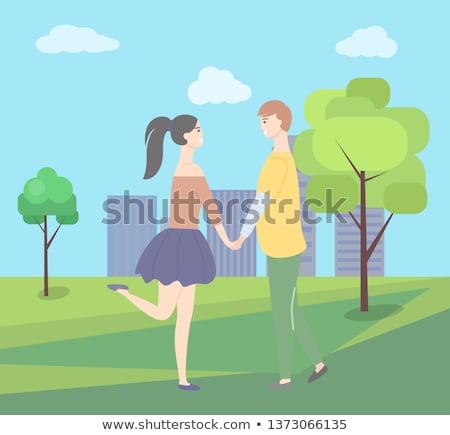 Datant adolescent femme court jupe homme Photo stock © robuart