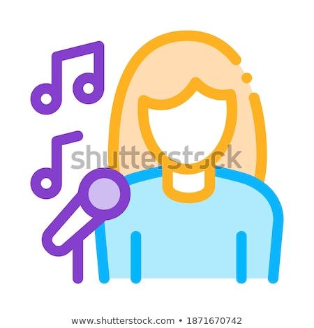vrouwelijke · zanger · microfoon · zingen · vector · icon - stockfoto © pikepicture