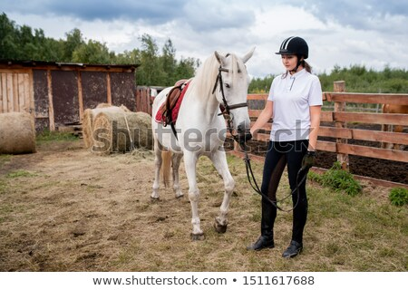 Young woman in equestrian helmet and sportswear chilling out with her racehorse Stock photo © pressmaster
