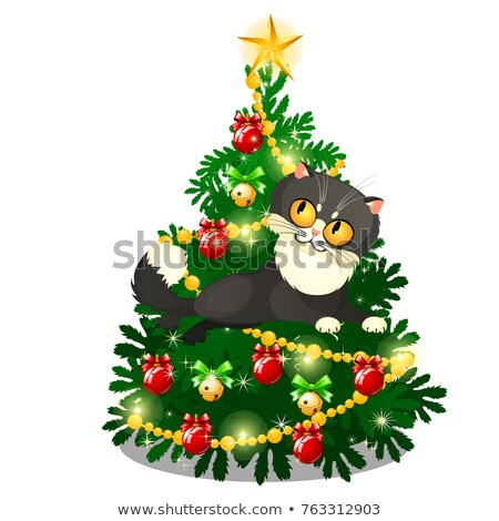 Funny animated cat with yellow eyes jumping in front of Christmas tree isolated on white background. Stock photo © Lady-Luck