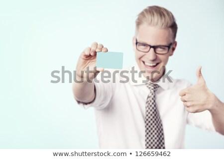 笑い ビジネスマン ブランクカード 空っぽ 名刺 ストックフォト © lichtmeister