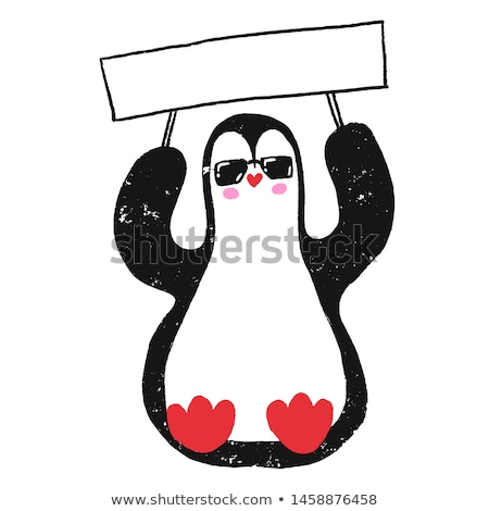 pinguin character cartoon with signboard Stock photo © doomko