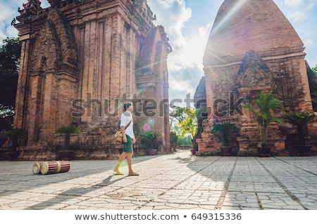 Man tourist in Vietnam. Po Nagar Cham Tovers. Asia Travel concept. Stock photo © galitskaya