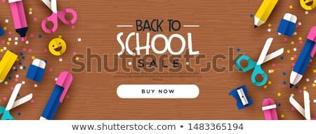 Stockfoto: Terug · naar · school · 3D · kid · hout · bureau