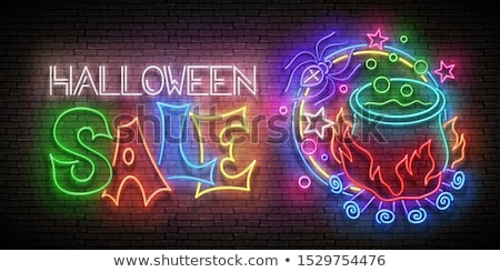 Stock photo: Glow Halloween Greeting Card with Potion in Witch's Cauldron and