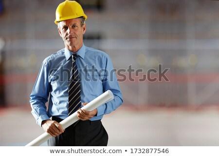 senior · profissional · arquiteto · masculino · capacete · blueprints - foto stock © CandyboxPhoto