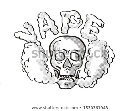Human Vaper Skull Vaping Puffing Smoke Tattoo Drawing Stock photo © patrimonio