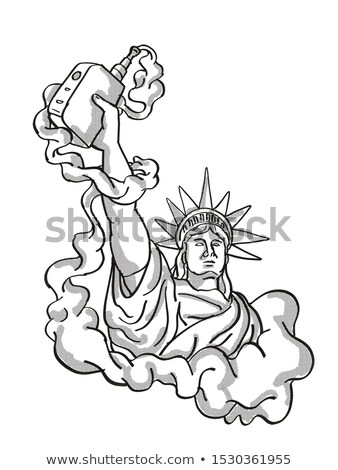 Statue of Liberty Holding Vape Electronic Cigarette Tattoo Stock photo © patrimonio