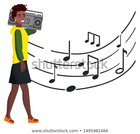 женщину · музыки · отмечает · волос · музыку · вечеринка · аннотация - Сток-фото © robuart