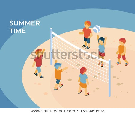 Summer time sport isometric digital vector with kids playing Stock photo © frimufilms