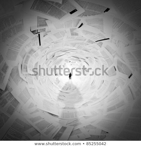 Businessman in the end of documents tunnel Stock photo © nomadsoul1