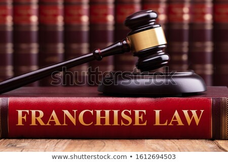 Gavel And Striking Block Over Book With Franchise Law Text Stock photo © AndreyPopov