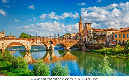 Old buildings by the Adige river in Verona, Italy Stock photo © boggy