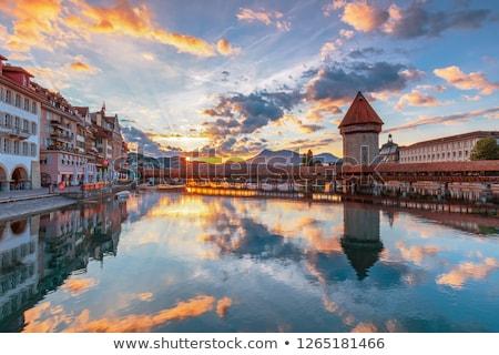 Város központ híres épületek tó gyönyörű Stock fotó © boggy