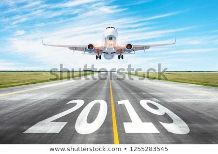 крыло плоскости Blue Sky облачный самолета Flying Сток-фото © artjazz