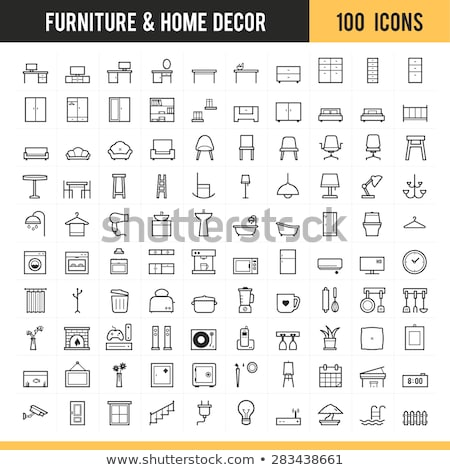Couch and Table Isolated Icons, Home Furniture Stock photo © robuart