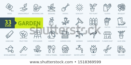 Gardening rake. Outline icon. Tool vector illustration Stock photo © Imaagio