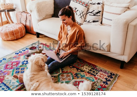 幸せ 女性 犬 所有者 ホーム ゴールデンレトリバー ストックフォト © Elnur