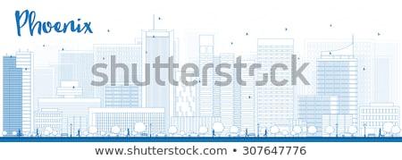 Outline Phoenix Skyline with Blue Buildings. Stock photo © ShustrikS