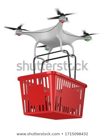 quadrocopter with shopping basket on white background. Isolated  Stock photo © ISerg