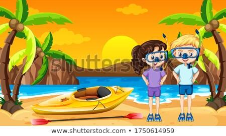 сцена два дети каноэ пляж иллюстрация Сток-фото © bluering
