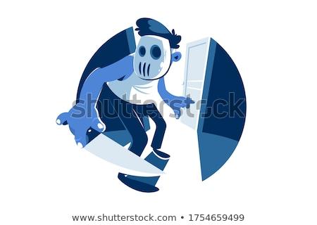 Csávó visel maszk tolvaj éles kés Stock fotó © jossdiim
