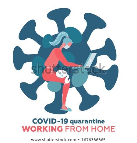Distância trabalhando abstrato escritório casa remoto Foto stock © RAStudio