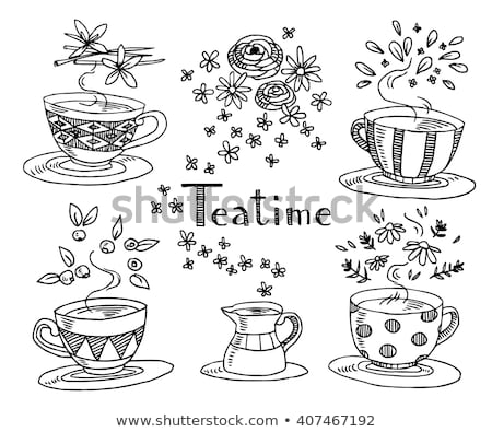 herbal tea cup with with doodle ornament Stock photo © Margolana
