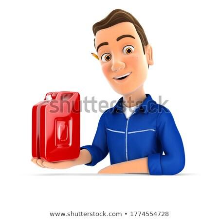 3d mechanic presenting petrol can Stock photo © 3dmask