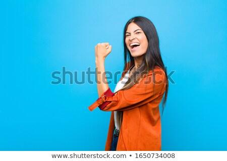 довольно улыбаясь женщину изолированный белый лице Сток-фото © diomedes66