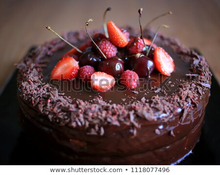 Cake with cherries and raspberries Stock photo © simply