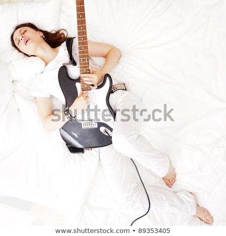 fille · guitare · guitare · électrique · vue · arrière · sexy - photo stock © hasloo