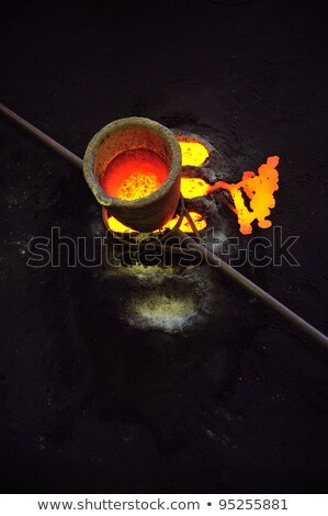 Foundry - molten metal in crucible standing on moulds - leftover Stock photo © brozova