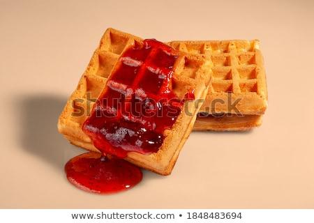 eper · waffle · fagylalt · gyümölcs · piros · tányér - stock fotó © m-studio