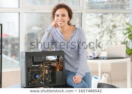 Foto stock: Feminino · reparação · de · computadores · computador · mulheres · corpo · caixa