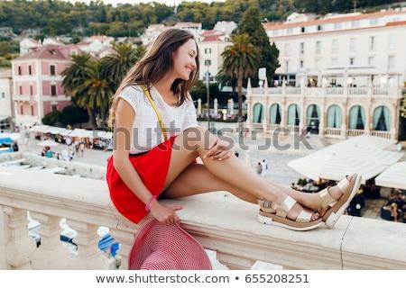 Gouden schoenen meisje meisjes geïsoleerd witte Stockfoto © pzaxe