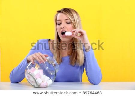Nő eszik bögre haj háttér portré Stock fotó © photography33