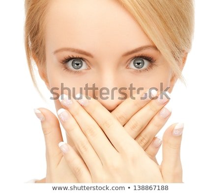 girl with picture of a mouth in hand Stock photo © photography33