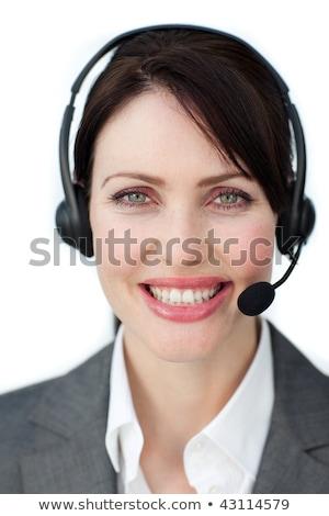 Stok fotoğraf: Işkadını · kulaklık · yalıtılmış · beyaz · kadın · gülümseme