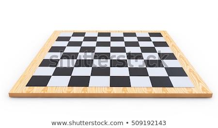 Szachownica odizolowany biały drewna tle Zdjęcia stock © shutswis