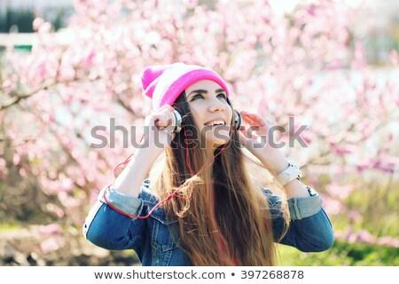 Vicces rózsaszín mp3 lejátszó vektor rajz technológia Stock fotó © pcanzo