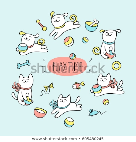 cute · hond · bal · vector · cartoon · lopen - stockfoto © pcanzo