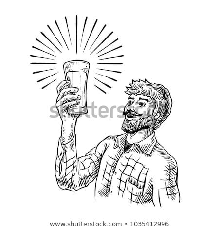 Stock fotó: Férfi · sör · szalag · vektor · rajz · nagy · mosoly